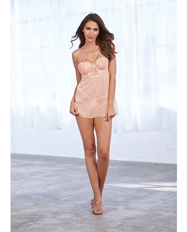 Dreamgirl Simply Sexy Stretch Shimmer Mesh Chemise With Panty Pink Champagne Lg