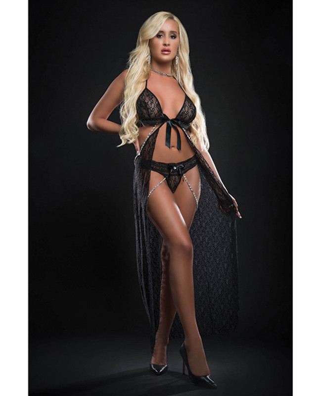 G World Intimates Cut Out Open Front Flyaway Night Gown With Pearl Chains & Panty Black O/S