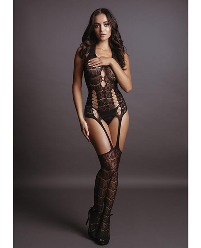 Shots Le Desir Lace Suspender Bodystocking Black O/S