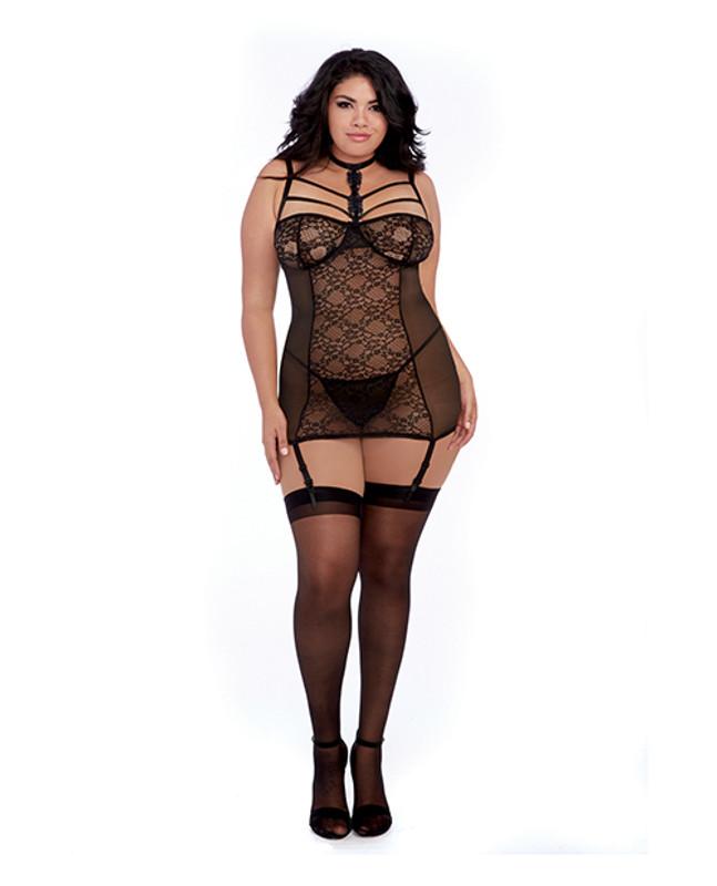 Dreamgirl Simply Sexy Stretch Lace Garter Slip & G-String Panty Black 2X