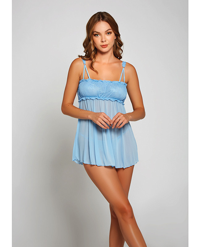 Icollection Lace & Fine Mesh Babydoll & Mesh G-String Panty Light Blue Lg