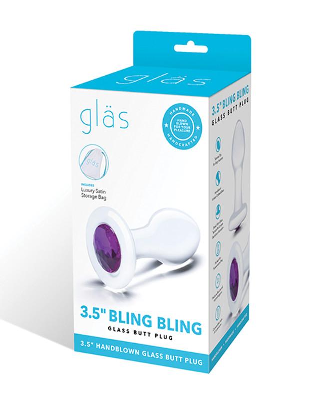 "Glas 3.5"" Bling Bling Glass Butt Plug - Clear"
