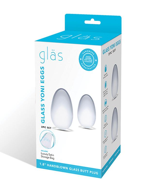 Glas 2 Pc Glass Yoni Eggs Set - Clear