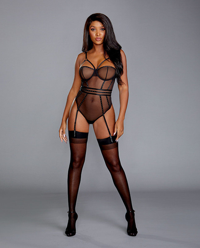 Dreamgirl Sheer Stretch Mesh Snap Crotch Teddy With Removable Garters Black Xl
