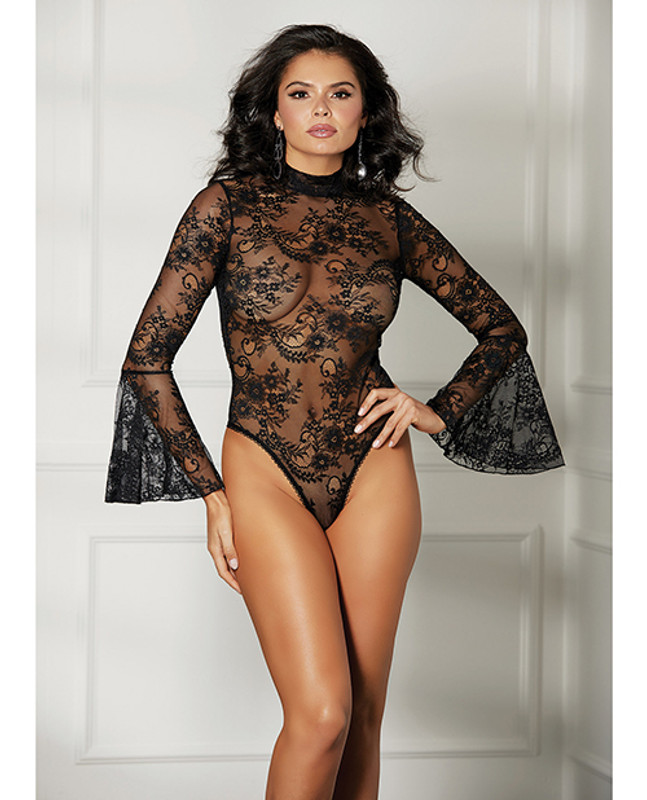 Shirley Of Hollywood Sheer Floral Bell Sleeved Teddy Black Md