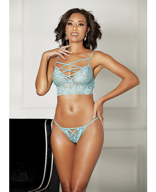 Shirley Of Hollywood Strappy Lace Bra And & Thong Mint Xl