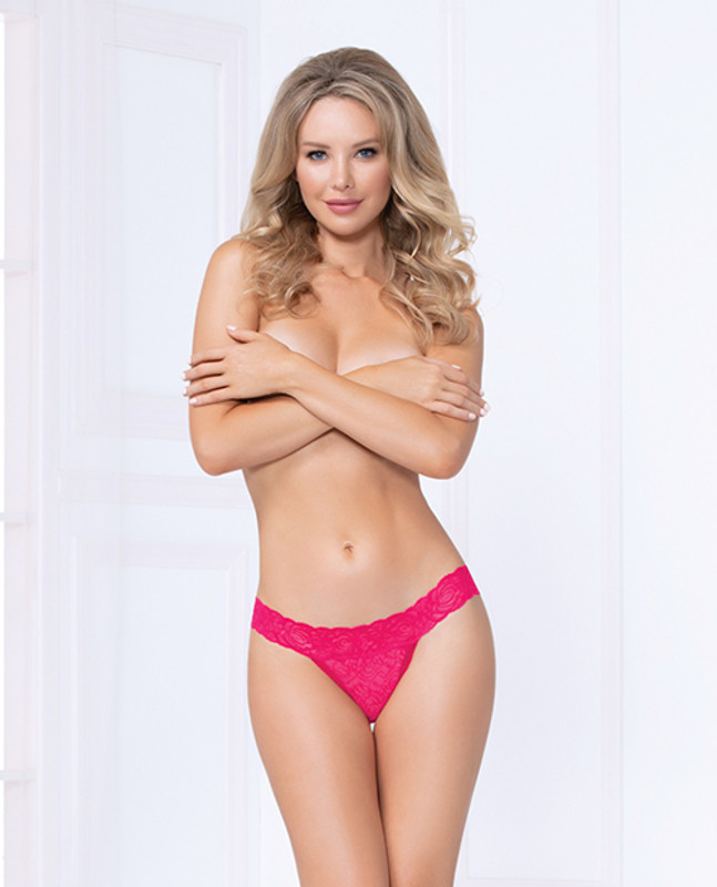 Seven 'til Midnight Costume Lace Thong Panty Pink Lg