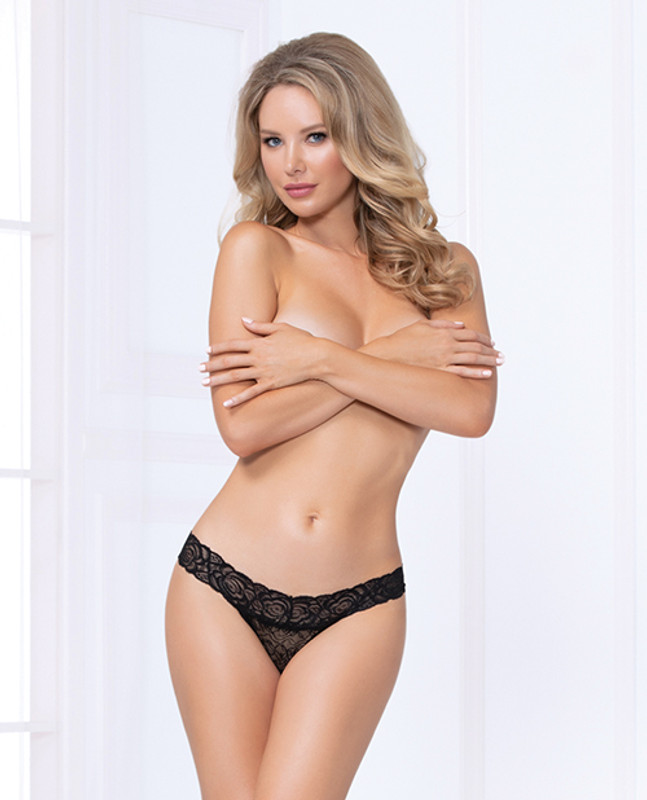 Seven 'til Midnight Costume Lace Thong Panty Black Xl