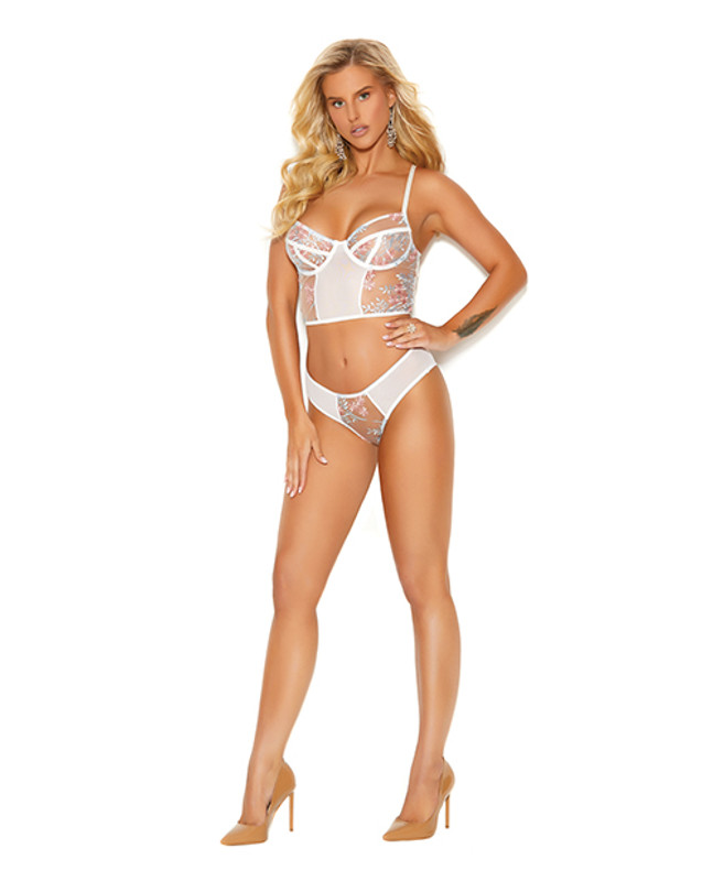 Elegant Moments Embroidered Mesh Camisole & Ruched Back Panty White 2x
