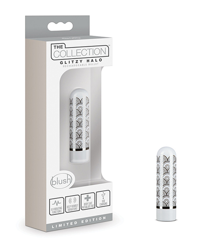 Blush The Collection Glitzy Geo Rechargeable Bullet - Silver