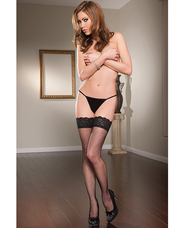 Seven 'til Midnight Lace Top Fishnet Thigh Highs With Back Seam Black O/S