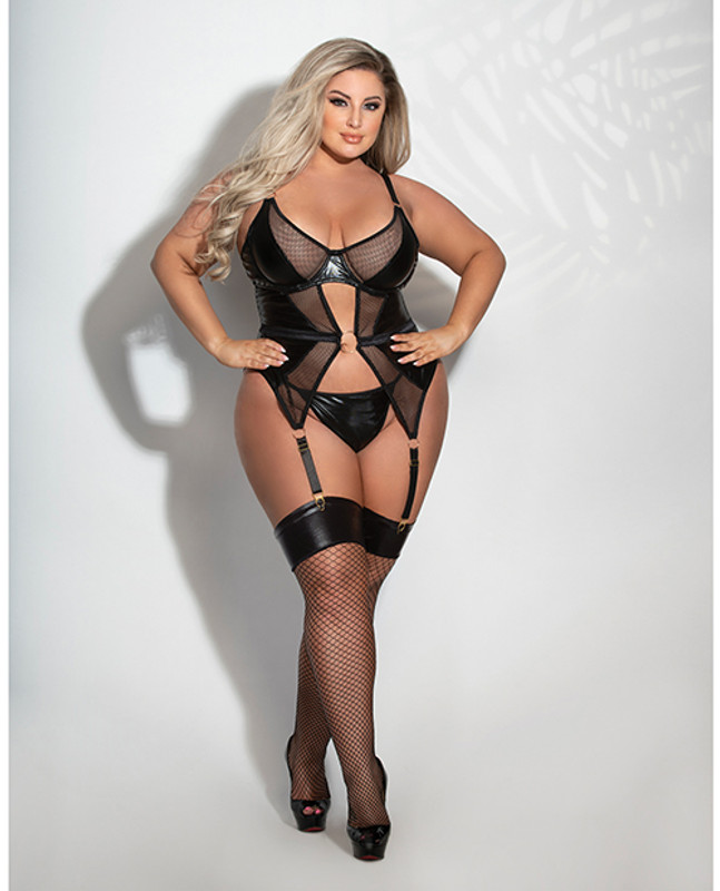 Lame & Net Cami W/attached Garters & G-string Black 3x/4x
