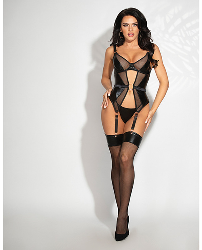 Lame & Net Cami W/attached Garters & G-string Black Sm