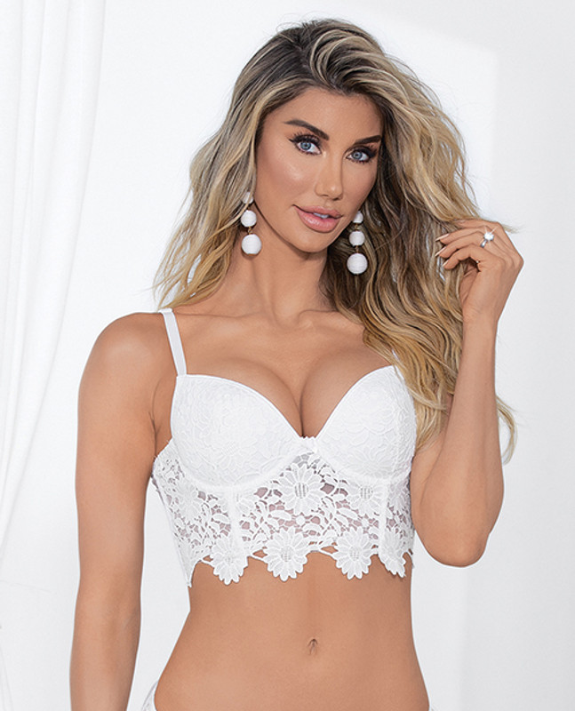 Escante Guipure Lace & Lycra Bra With Molded Cups & Adjustable Straps White 32