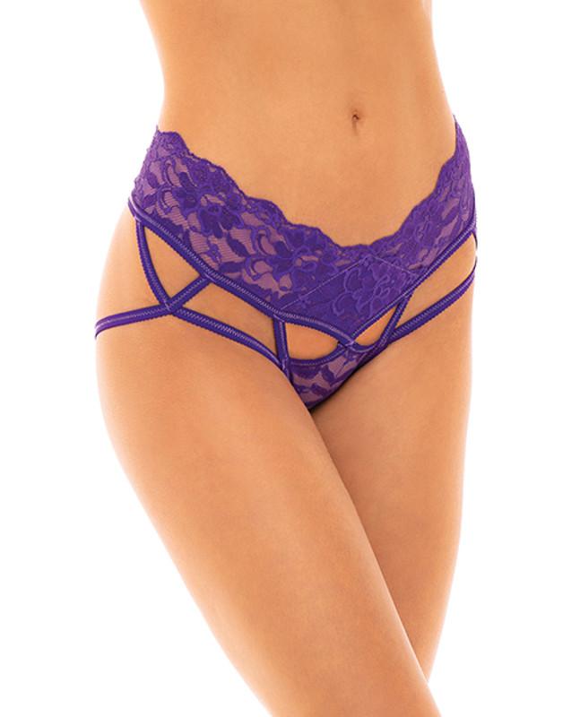 Keily Stretch Lace Trim Crotchless Panty Purple S/m