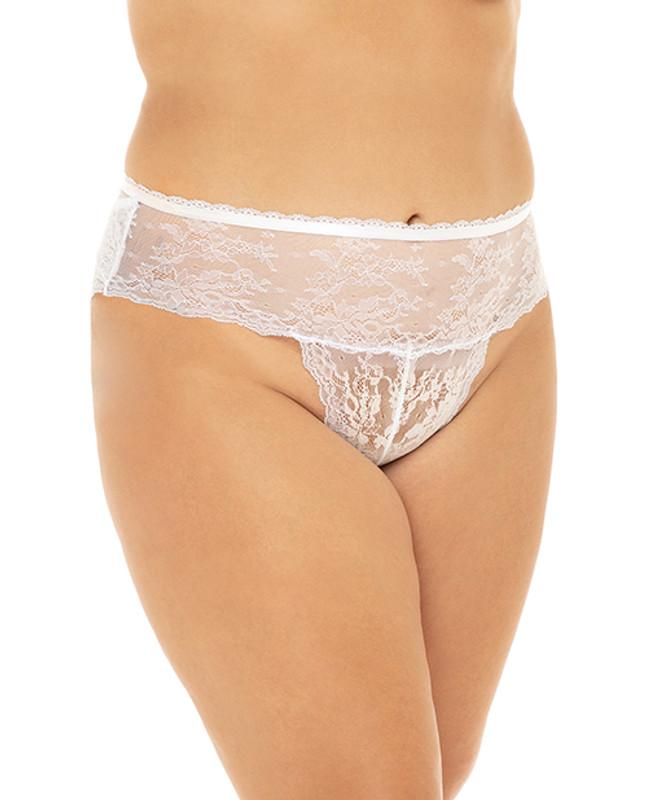 Helena Stretch Lace Open Back Crotchless Panty White 1x/2x