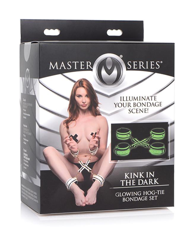 Master Series Kink In The Dark Glowing Hog Tie Bondage Set