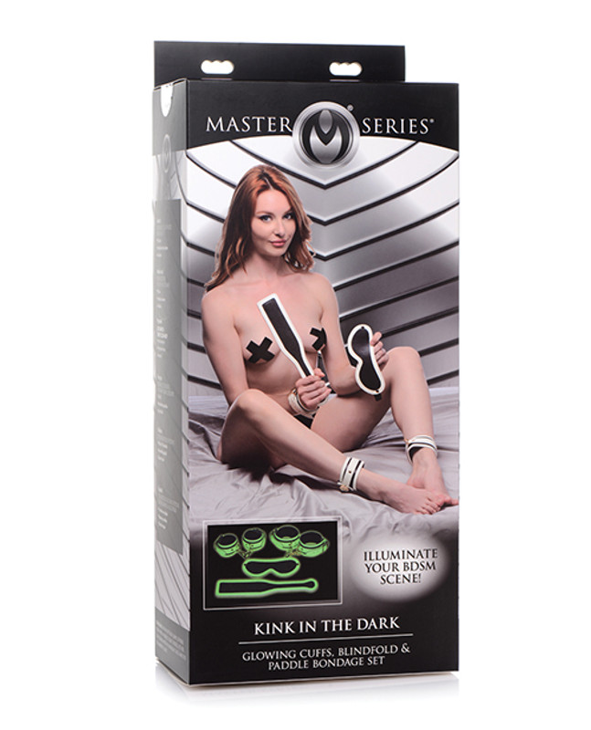 Master Series Kink In The Dark Glowing Cuffs & Blindfold & Paddle Set