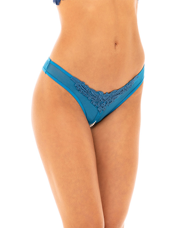 Crotchless Thong W/pearls Mykonos Blue Os