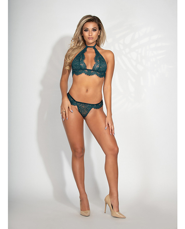 Lace High Neck Bra & G-string Teal O/s