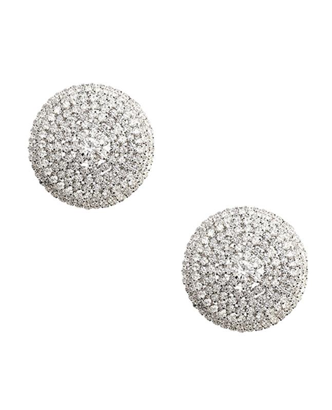 Neva Nude Burlesque Big O Crystal Jewel Reusable Silicone Nipzitx Pasties - Silver O/s