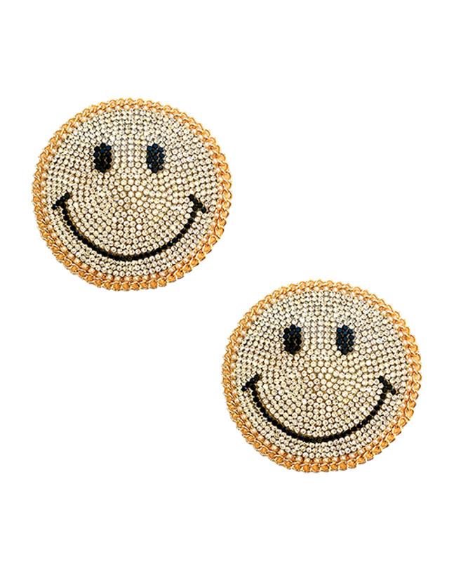 Burlesque Smile Face Jewel Reusable Silicone Nipztix - Gold O/s