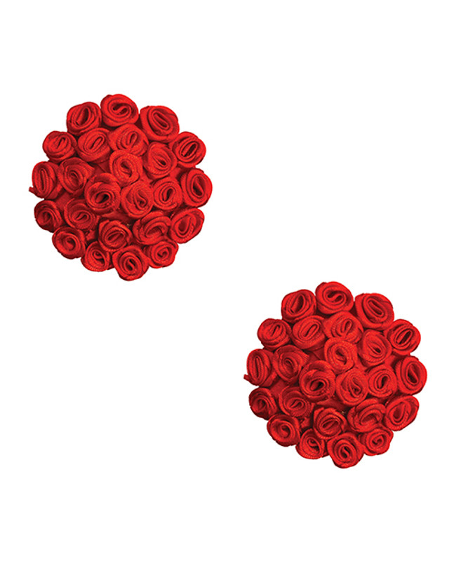 Burlesque First Impression Roses Reusable Silicone Nipztix - Red O/s