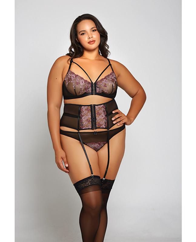 Icollection Jacquard Lace, Fine Mesh, Waist Cincher Garter & Thong Panty Fuchsia/black 3x