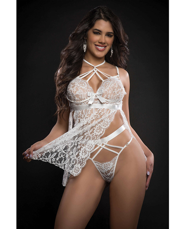 G World Intimates Lace Halter Babydoll With High Waist Strappy Panty White O/s