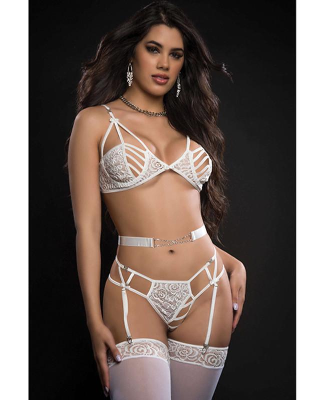 Caged Wired Bra, Garter Panty & Stockings Lavish White O/s