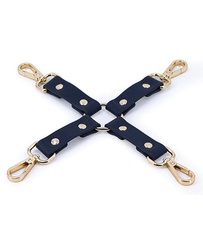 NS Novelties Fetish Bondage Couture Leather Hog Tie - Blue