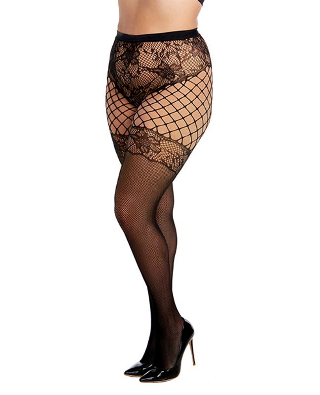 Multi Pattern Fishnet & Lace Panty Hose Black Qn