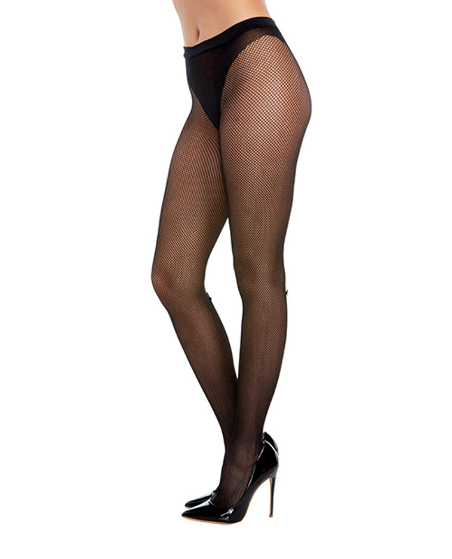 Dreamgirl Fishnet Pantyhose With Solid Knitted Panty Design With Calf Back Seam Black O/s
