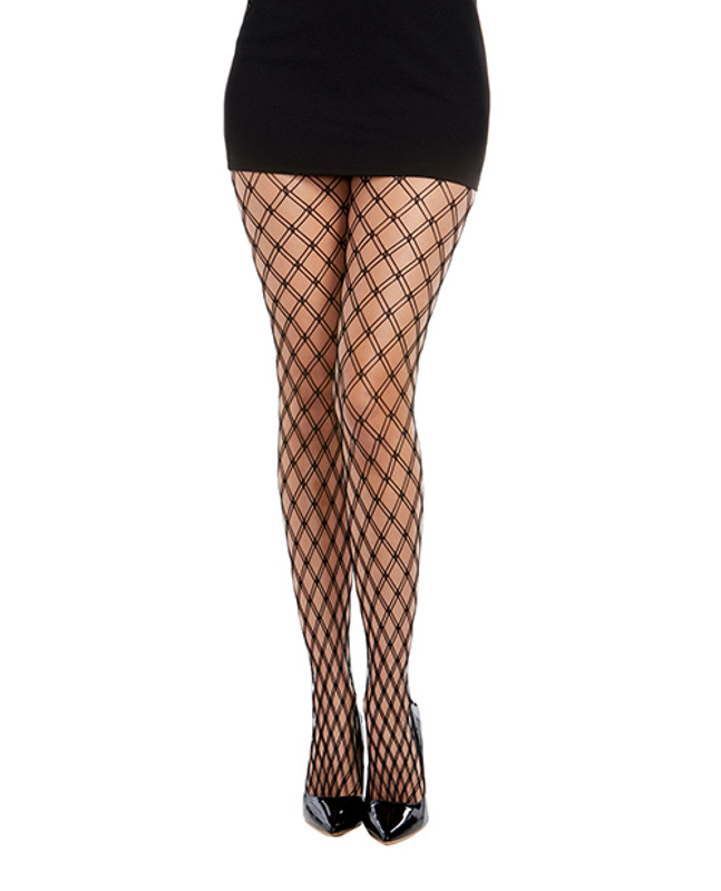 Dreamgirl Double Knitted Fence Net Pantyhose Black O/s