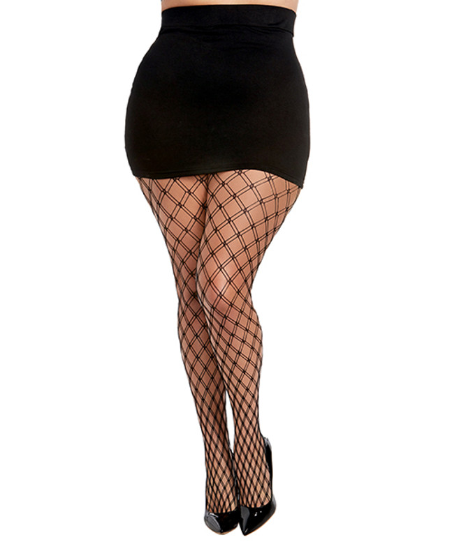 Double Knitted Fence Net Pantyhose Black Qn