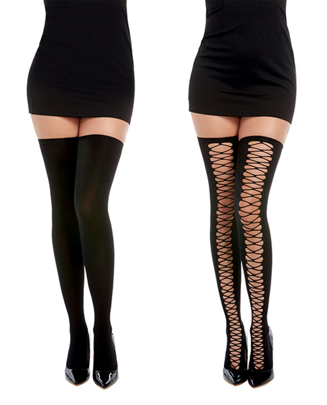 Opaque Knitted Thigh High Stockings W/criss Cross Detail (can Be Worn Two Ways) Black O/s