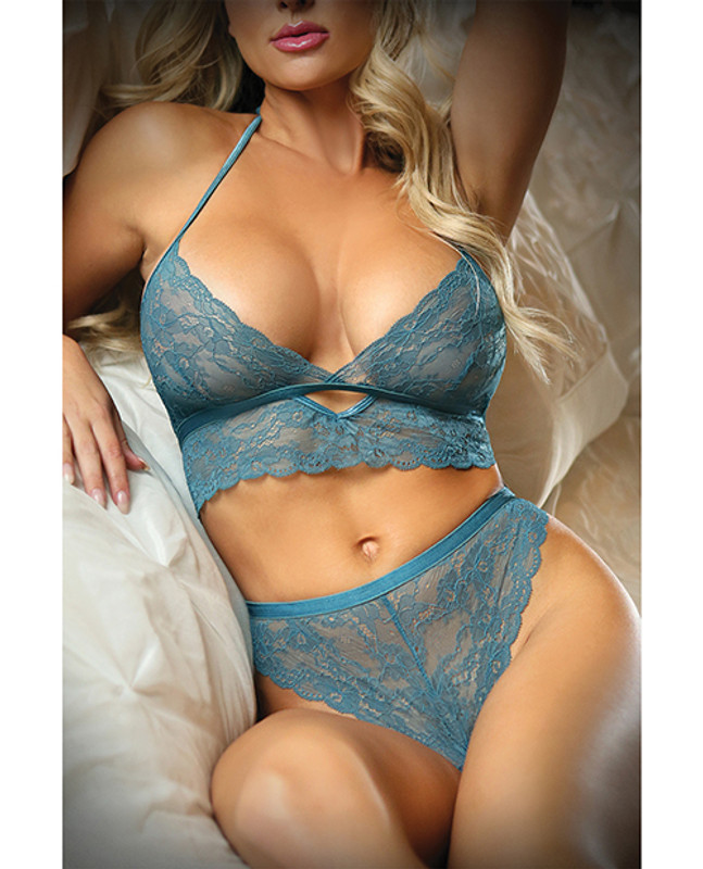 Fantasy Lingerie Vixen Teal Me About It Scalloped Lace Bralette With Panty Teal O/s