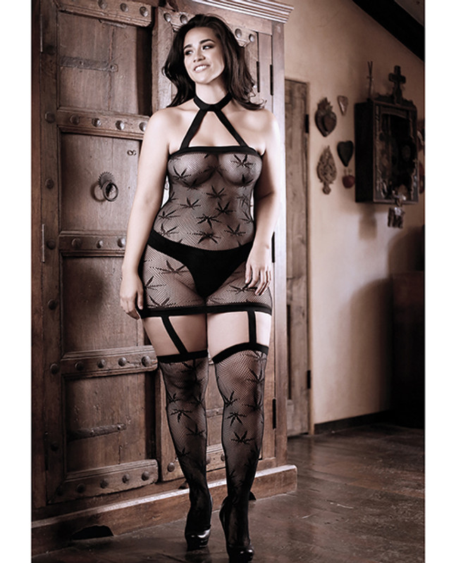 Fantasy Lingerie Sheer Fantasy High Society Halter Dress Bodystocking With Attached Gartered Stockings Black Qn