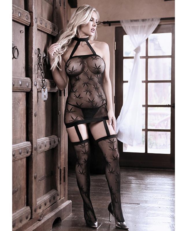 Sheer Fantasy High Society Halter Dress W/attached Gartered Stockings Black O/s