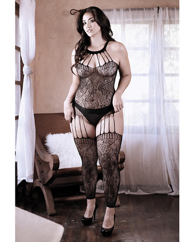 Fantasy Lingerie Sheer Fantasy Treasure Within Strappy Halter Dress With Attached Footless Stockings Black Qn