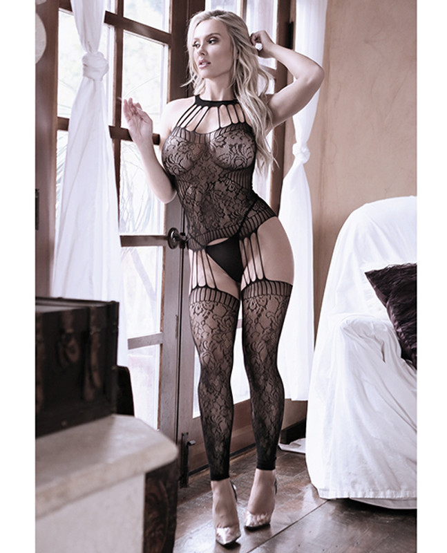 Fantasy Lingerie Sheer Fantasy Treasure Within Strappy Halter Dress With Attached Footless Stockings Black O/s