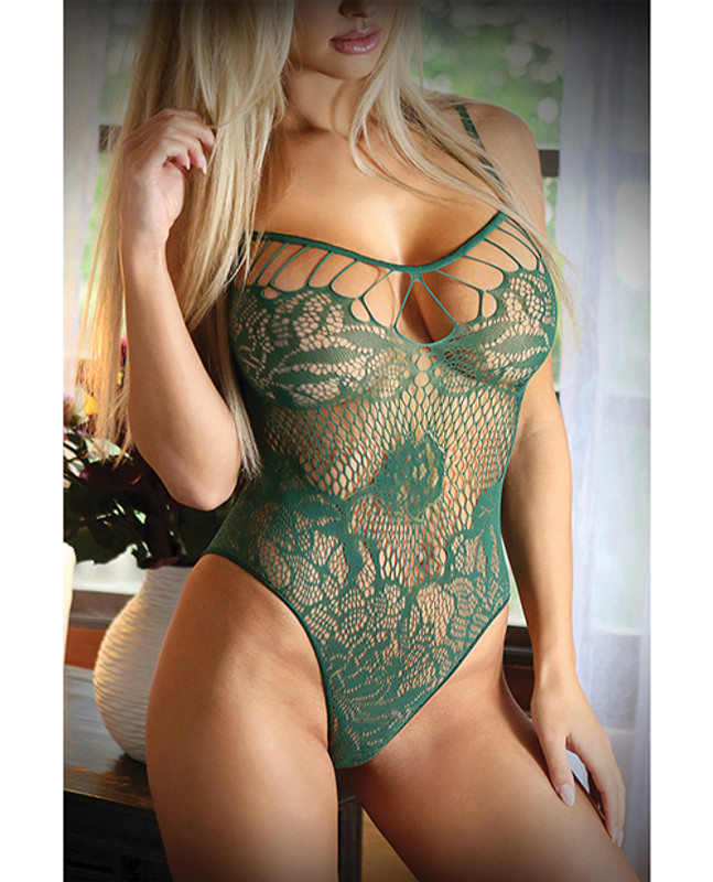 Fantasy Lingerie Vixen Green With Envy Strappy Stretch Lace Teddy Evergreen O/S