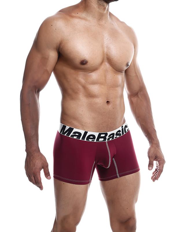 Male Basics Performance Boxer Burgundy Lg