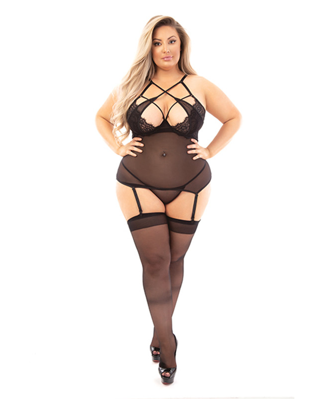 Escante Sheer Strappy Chest Bustier With Garters Black 2x