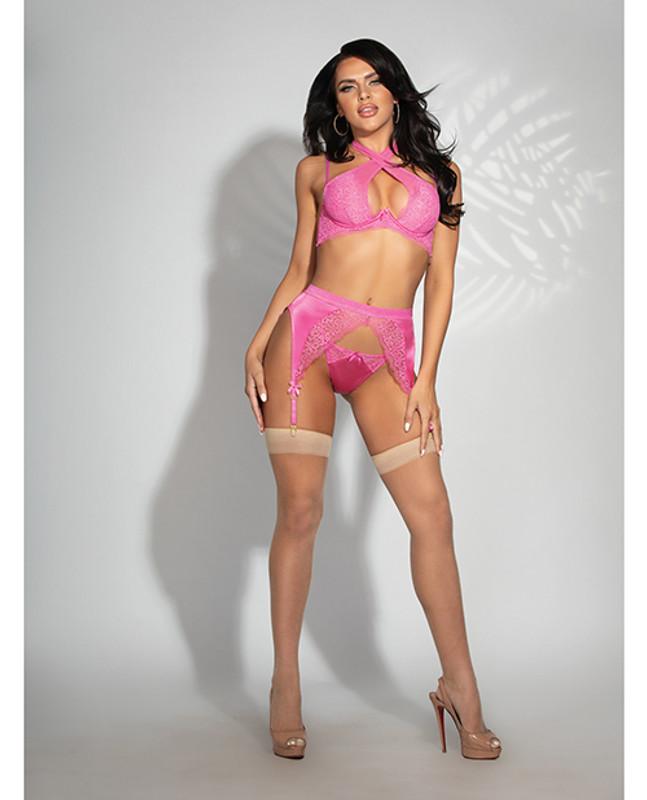 Satin & Lace Underwire Bra, Garterbelt & G-string Pink Xl