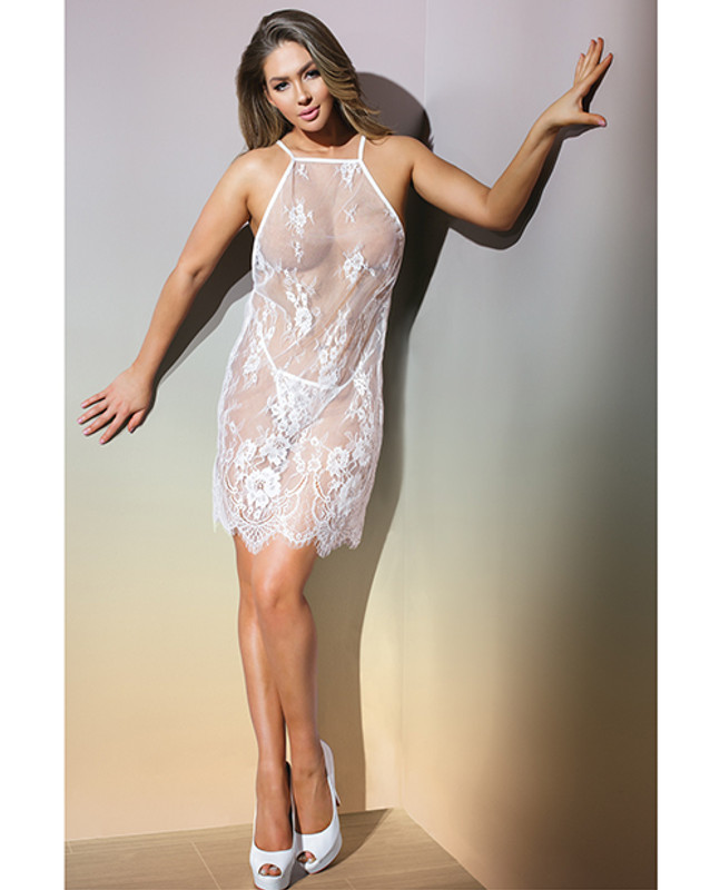 Coquette Classic Sheer Eyelash Lace Babydoll & G-String Panty White O/s