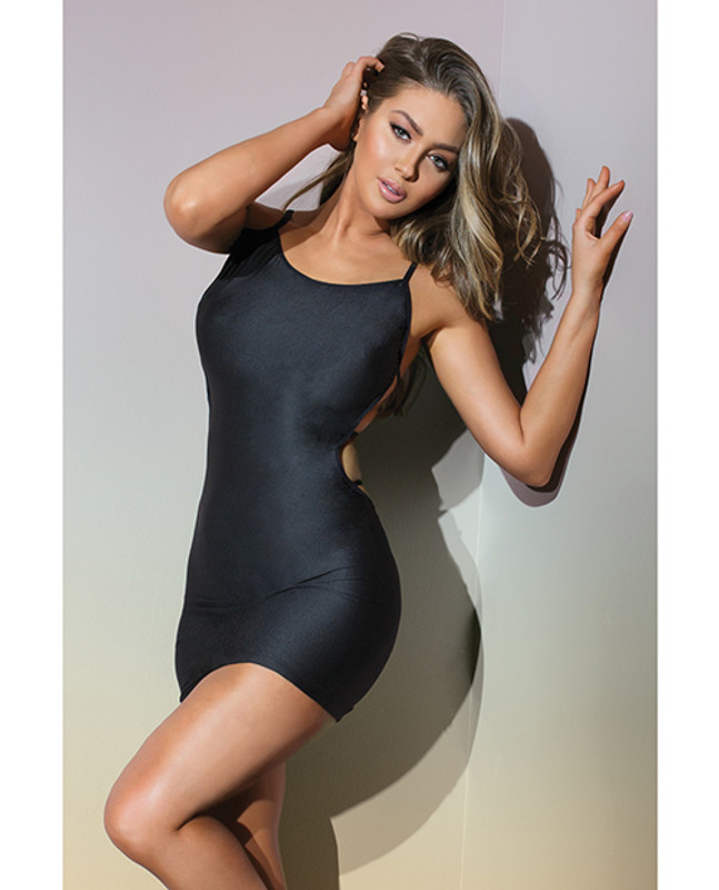CoquetteBold Stretch Knit Fitted Reversible Dress & G-String Panty Black O/s