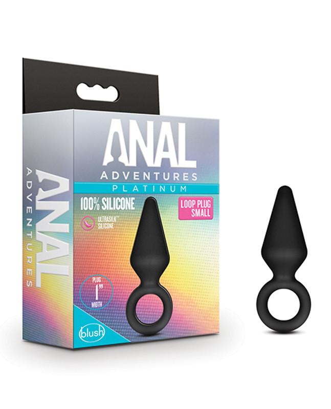 Blush Anal Adventures Platinum Silicone Loop Plug - Small Black