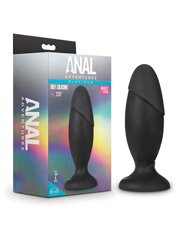 Blush Anal Adventures Platinum Silicone Rocket Butt Plug - Black