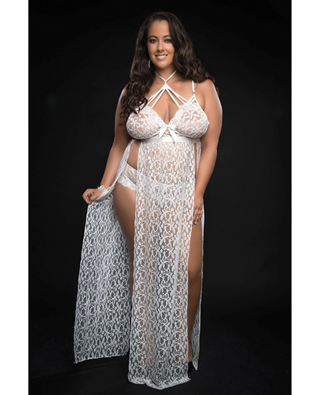 Lace Night Gown W/lace Pany White Qn
